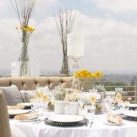 Almoço de noivado amarelo, fendi e cinza