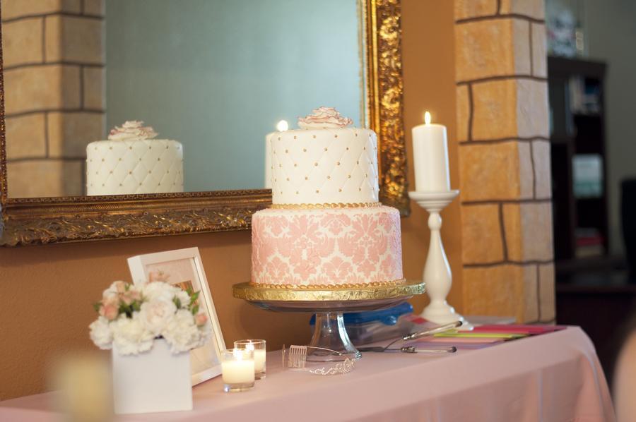 decoracao branco rosa e dourado